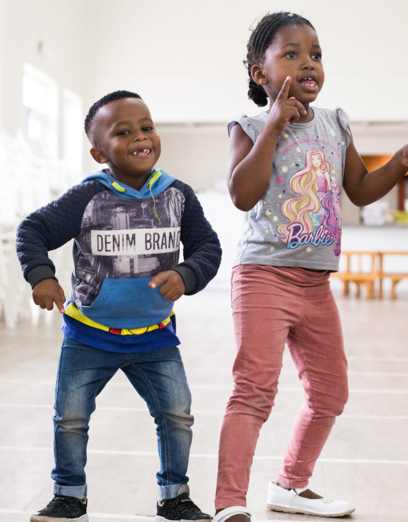 Pre-Schoolers moving to the music in Cape Town