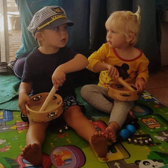 Toddlers playing music in Cape Town