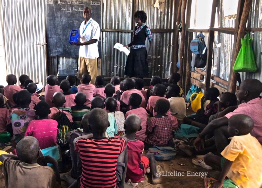 Pre-school children using Wriggle and Rhyme music at the Kakuma Refugee camp in Kenya